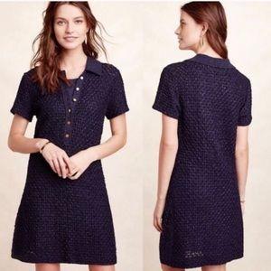 {Anthro} MOTH navy diamond knit  shirt dress